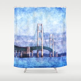 The Mackinac Bridge Shower Curtain