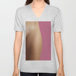 Woman on pink Unisex V-Neck