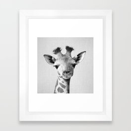 Baby Giraffe - Black & White Framed Art Print
