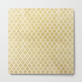 Mermaid Tail Pattern  |  Gold Glitter Metal Print