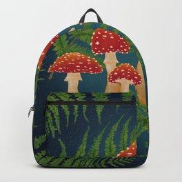 Magic Mushroom Fern Forest Navy  Backpack