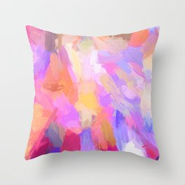 Abstract magenta pink orange violet lilac watercolor brushstrokes Throw Pillow