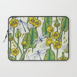 yellow water lilies and dragonflies Laptop Sleeve