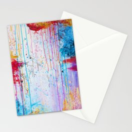 HAPPY TEARS Bright Cheerful Abstract Acrylic Painting, Drip Splat Bold Pink Red Purple Spring Art Stationery Cards
