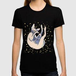 Sleepy Sphynx - Orange Background - Polka Dot - Naked Cat T-shirt