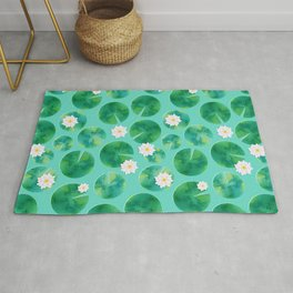Lily Pads & White Water Lily Flowers Rug
