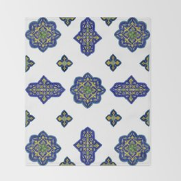 Samarkand blue and yellow ornament Throw Blanket