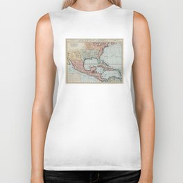 Vintage Map of The Gulf of Mexico (1732) Biker Tank