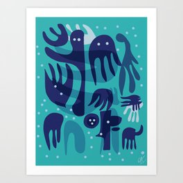Underwater Joyful Creatures illustration  Art Print