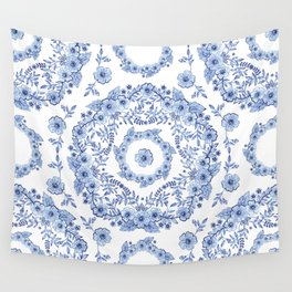 Blue Rhapsody on white Wall Tapestry