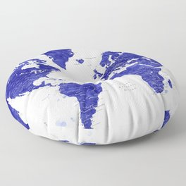"""Navy blue watercolor world map with cities, """"Ronnie"""" Floor Pillow"""