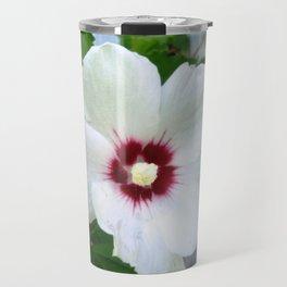 White Hibiscus Flower Ruffle Travel Mug
