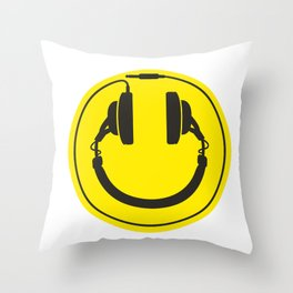 Headphones smiley wire plug Throw Pillow