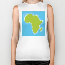 map of Africa Continent and blue Ocean. Vector illustration Biker Tank