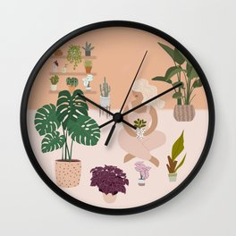 Plant Lady with her favorite plants Wall Clock