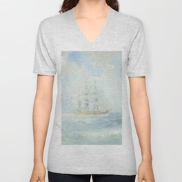 Wild Is The Wind - Cutty Sark - Maritime Painting Unisex V-Neck