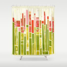 A field of red summer flowers Shower Curtain
