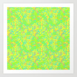 90's Neon Abstract Turtle Shells in Fluorescent Yellow Art Print