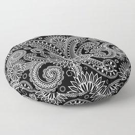 Boho Black & White Paisley Pattern Floor Pillow