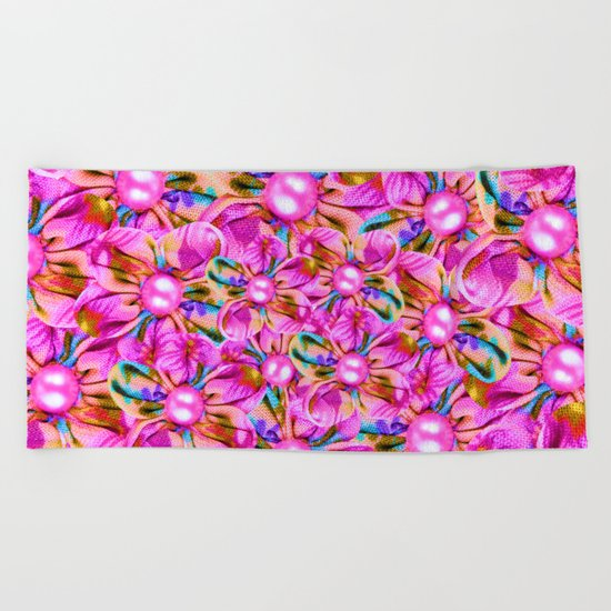 Abstract sewn pink flowers Beach Towel