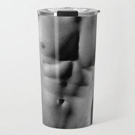 Photograph Erotic fetish style with Nude Male man wearing gasmask Travel Mug