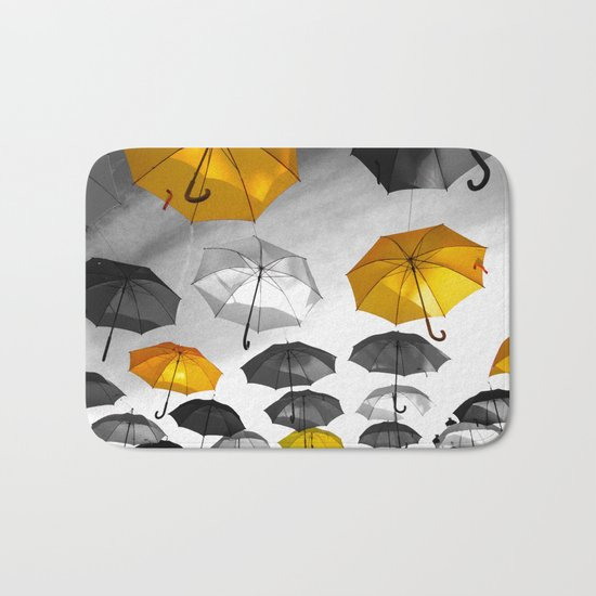 Yellow  is my color - Yellow and Black Umbrellas Bath Mat