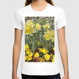 Floral Spring Garden with Daffodils and Pansies T-shirt