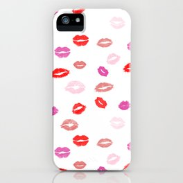 Lipstick, kisses, smooch, makeup fashion illustration iPhone Case