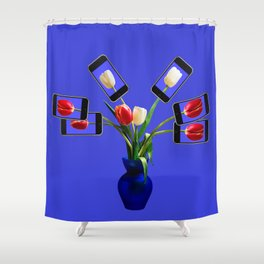 iphone flowers in vase Shower Curtain