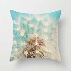 dandelion with waterdrops Throw Pillow