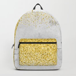Gold Glitter and Grey Marble texture Backpack