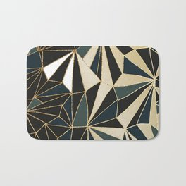 New Art Deco Geometric Pattern - Emerald green and Gold Bath Mat