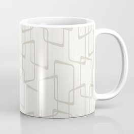 Beige / Light Warm Gray Retro Geometric Print Coffee Mug