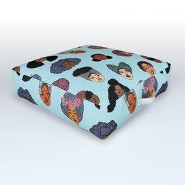 Black Hair Magic - Blue Outdoor Floor Cushion