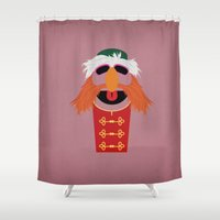 floyd Shower Curtains featuring The Muppets Show Vintage Art Sgt Floyd Pepper Retro Style Minimalist Poster Print by The Retro Inc