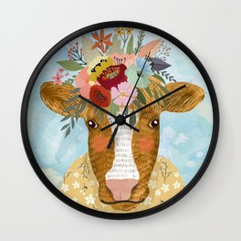 Cute cow with flowers on head, floral crown farm animal Wall Clock