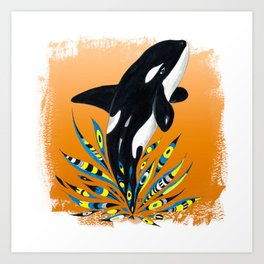 Cute Orca Whale Orange Doodle Splash Art Print