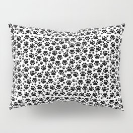 Dog Paws, Traces, Paw-prints - White Black Pillow Sham