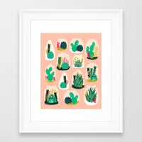 garden Framed Art Prints featuring Terrariums - Cute little planters for succulents in repeat pattern by Andrea Lauren by Andrea Lauren Design