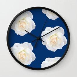 Cream Rose Polka Dot on Blue Wall Clock