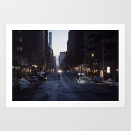 Winter dusk in New York Art Print