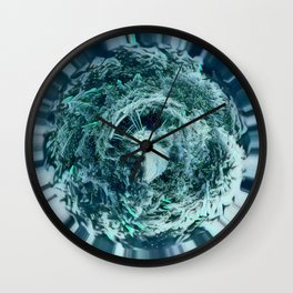 Tiny Planet Ice Blue Dock on Lake Wall Clock