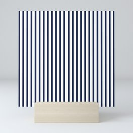Navy Blue Vertical Stripes Mini Art Print