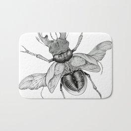 Dotwork Flying Beetle Illustration Bath Mat