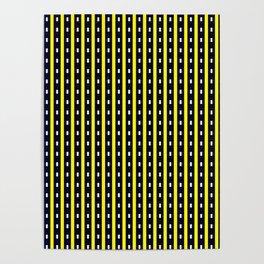 Darkest Blue and Yellow Stripe Pattern Design Poster