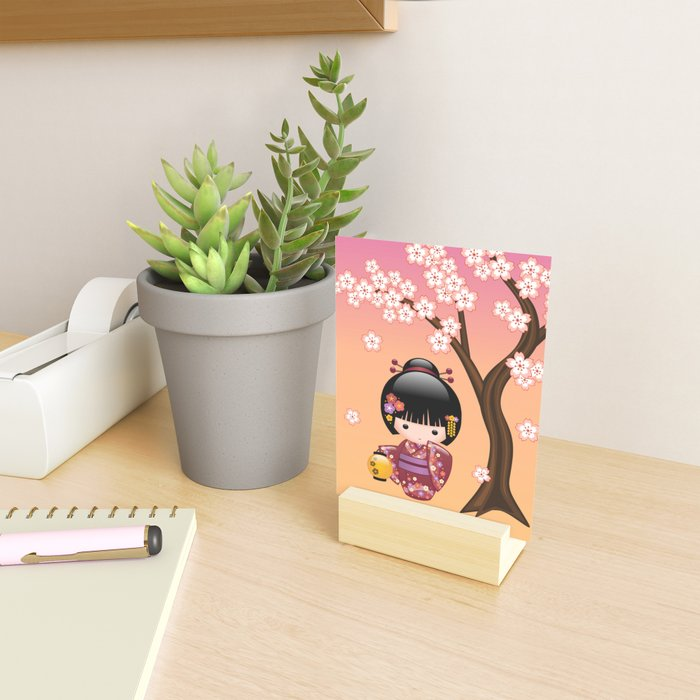 Japanese Sakura Kokeshi Doll Mini Art Print