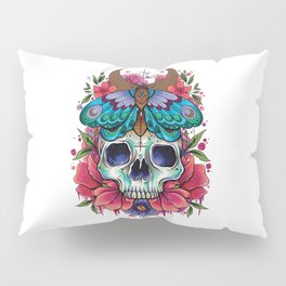 Neo Traditional Patterned Moth and Skull Pillow Sham