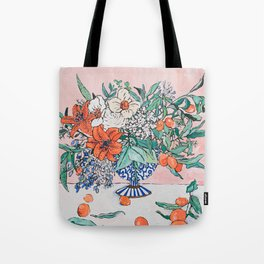 California Summer Bouquet - Oranges and Lily Blossoms in Blue and White Urn Tote Bag