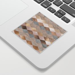 Copper and Blush Rose Gold Marble Argyle Sticker