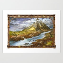 Lonely Mountain (bordered) Art Print